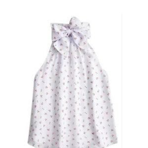 J CREW bow tie neck, cherry print, cotton